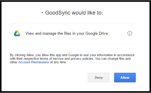 Click accept in the goodsync interface to continue.