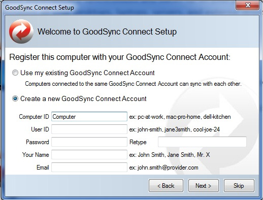 Maak een GoodSync Connect Account