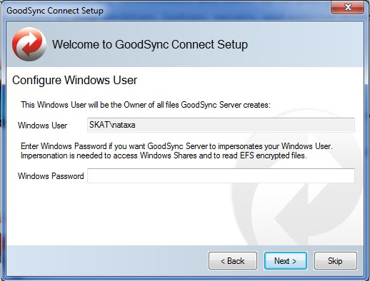 Enter your Windows Login Password to complete the GoodSync Connect setup process