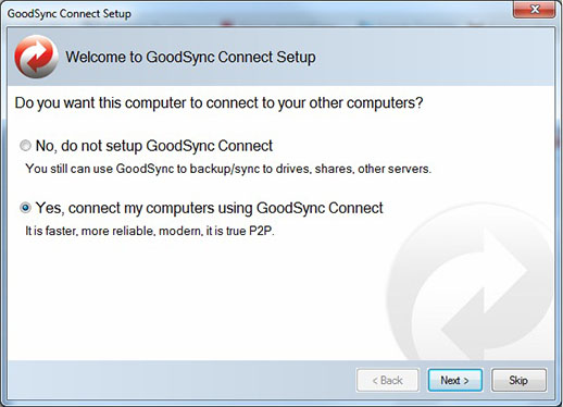 GoodSync Connect Setup Dialog