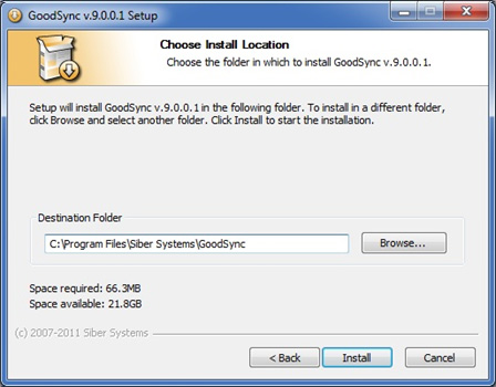 Select the folder where you would like to install GoodSync.