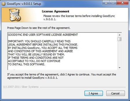 Select I AGREE to accept the GoodSync License Agreement