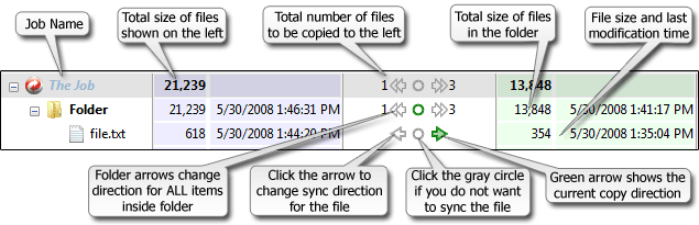 Example of GoodSync User Interface